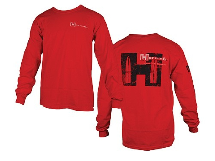 "Hornady Weathered T-Shirt Long Sleeve Cotton Red Large (44"")"