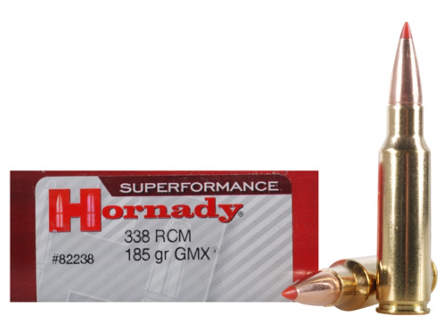 Hornady SUPERFORMANCE Ammunition 338 Ruger Compact Magnum (RCM) 185 Grain GMX Boat Tail Lead-Free Box of 20