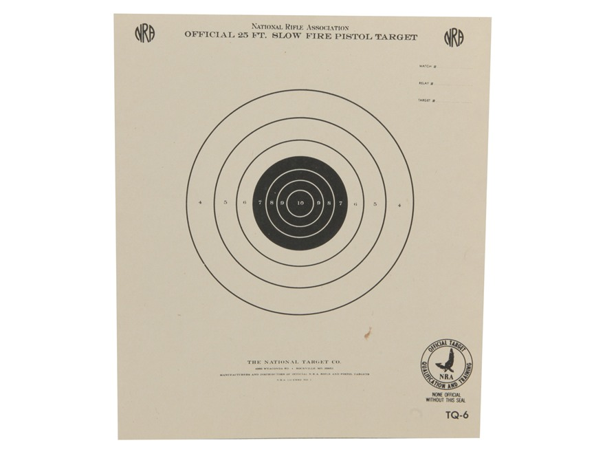 NRA Official Pistol Targets TQ-6 25' Slow Fire Paper Package of 100