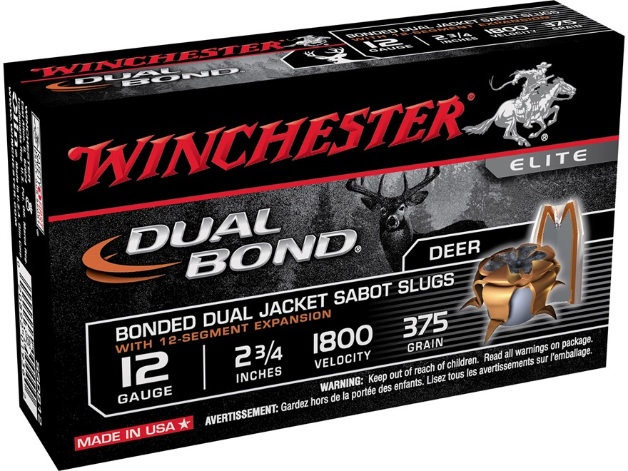 "Winchester Dual Bond Ammunition 12 Gauge 2-3/4"" 375 Grain Jacketed Hollow Point Sabot Slug Box of 5"