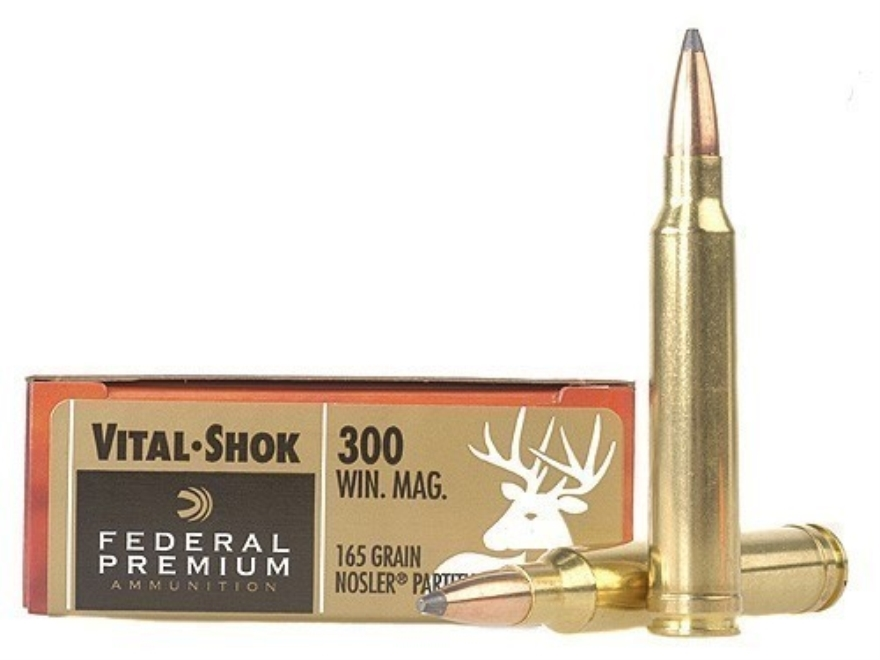 Federal Premium Vital-Shok Ammunition 300 Winchester Magnum 165 Grain Nosler Partition Spitzer Box of 20
