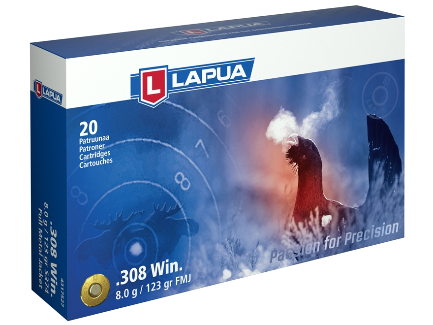 Lapua Ammunition 308 Winchester 123 Grain Full Metal Jacket Box of 20