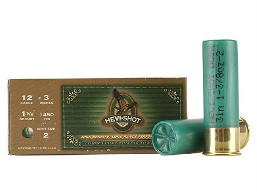 "Hevi-Shot Duck Waterfowl Ammunition 12 Gauge 3"" 1-3/8 oz #2 Non-Toxic Shot"