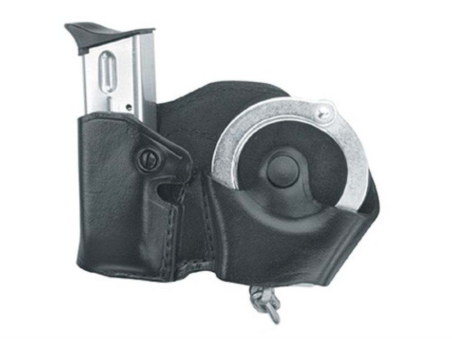 Gould & Goodrich B821 Paddle Handcuff and Magazine Carrier 1911 Government, Kahr Micro MK9, Elite MK9, MK40, Covert 40, E9, K9, P9, K40, P40, Sig Sauer P230, P232, Walther PPK Leather Bl
