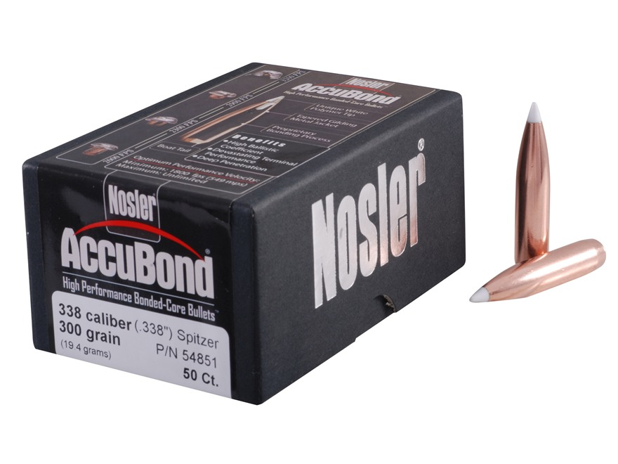 Nosler AccuBond Bullets 338 Caliber (338 Diameter) 300 Grain Bonded Spitzer Boat Tail Box of 50