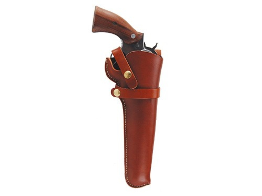 "Hunter 1100 Snap-Off Belt Holster Right Hand 6"" Colt Official Police, S&W 16, 17, 19, 48, 53, 66 Leather Brown"