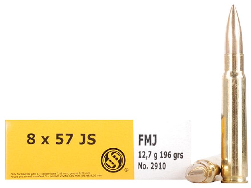 Sellier & Bellot Ammunition 8x57mm JS Mauser (8mm Mauser) 196 Grain Full Metal Jacket Box of 20