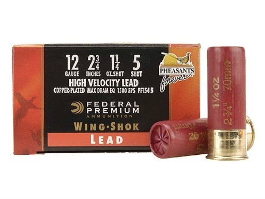 "Federal Premium Wing-Shok Pheasants Forever Ammunition 12 Gauge 2-3/4"" 1-1/4 oz Buffered #5 Copper Plated Shot Box of 25"