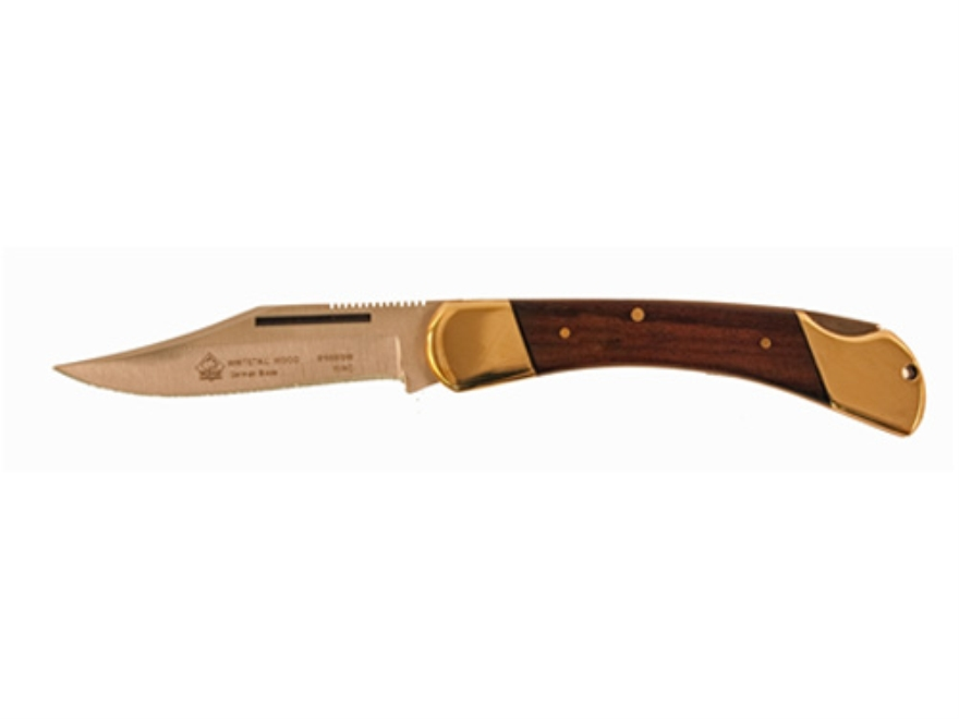 "Puma SGB Series Whitetail Folding Knife 3.1"" Clip Point German 440A Stainless Steel Blade Wood Handle Brown"