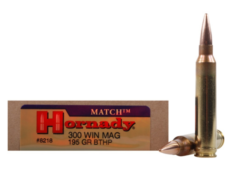 Hornady Match Ammunition 300 Winchester Magnum 195 Grain Hollow Point Boat Tail Box of 20