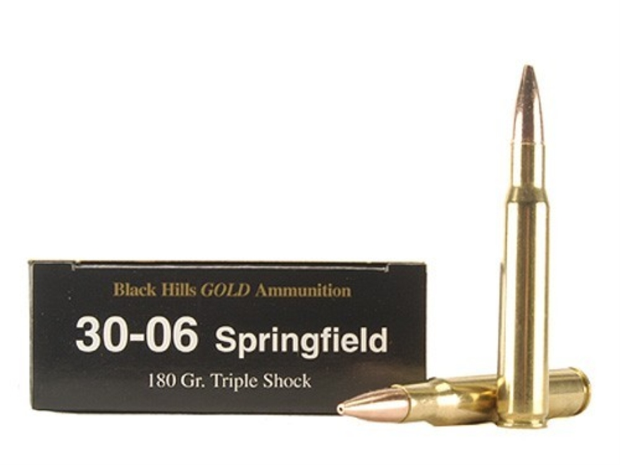 Black Hills Gold Ammunition 30-06 Springfield 180 Grain Barnes Triple-Shock X Bullets Hollow Point Flat Base Lead-Free Box of 20