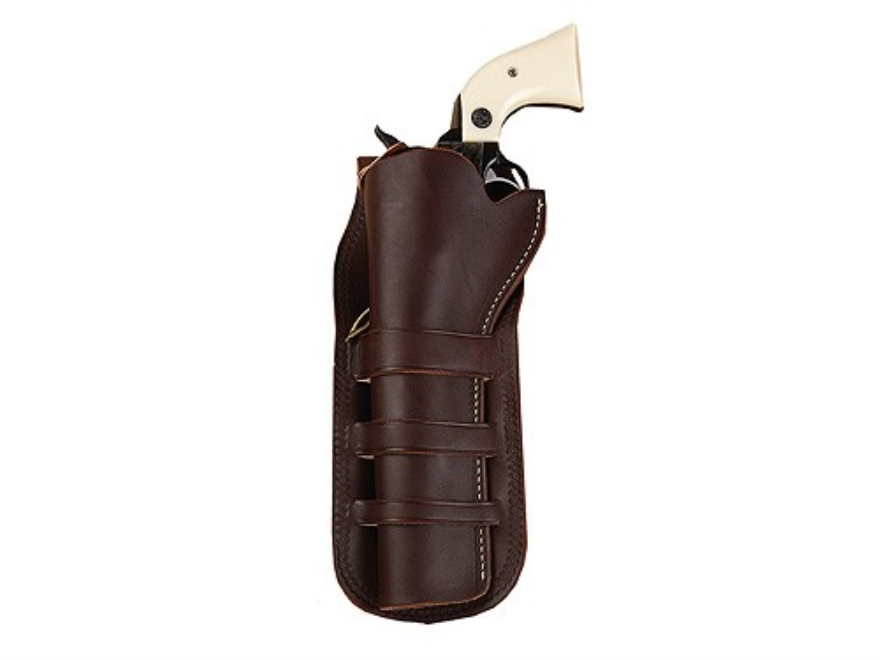 "Hunter 1091 Triple Loop Holster Colt Single Action Army, Ruger Blackhawk, Vaquero 4.75"" Barrel Leather Antique Brown"