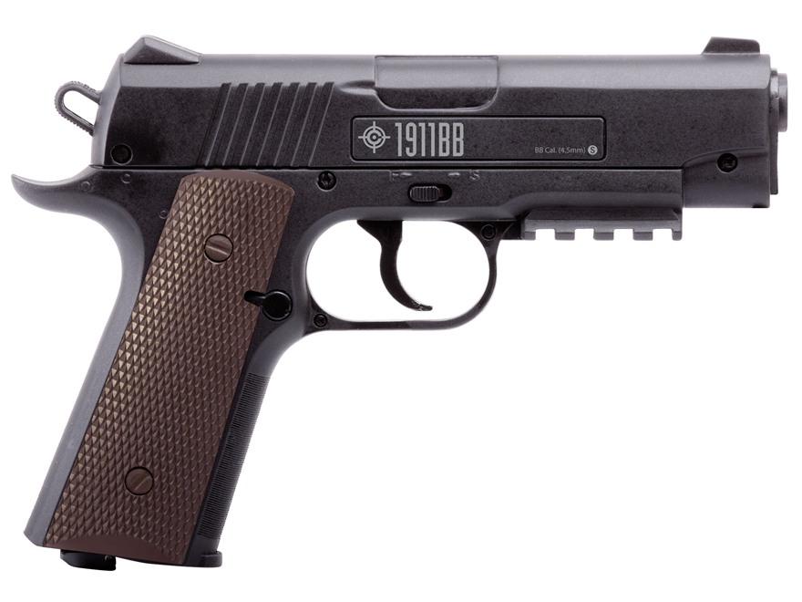 Crosman 1911 BB CO2 Air Pistol 177 Caliber BB Black with Brown Polymer Grips