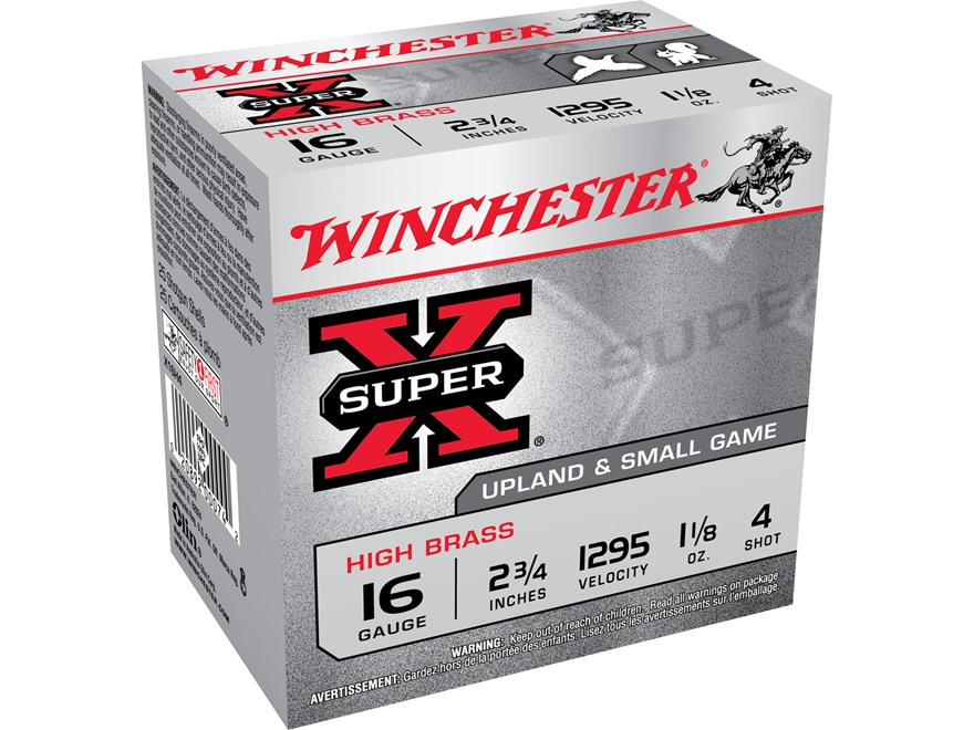 "Winchester Super-X High Brass Ammunition 16 Gauge 2-3/4"" 1-1/8 oz #4 Shot"