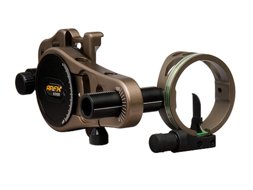 "Apex Gear AG Atomic Rover 1-Light 1 Pin Bow Sight .019"" Diameter Pin Ambidextrous Aluminum Brown"