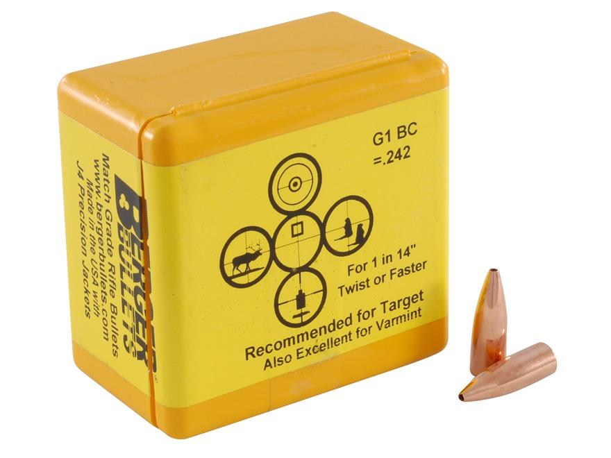 Berger Target Bullets 22 Caliber (224 Diameter) 52 Grain Hollow Point Flat Base