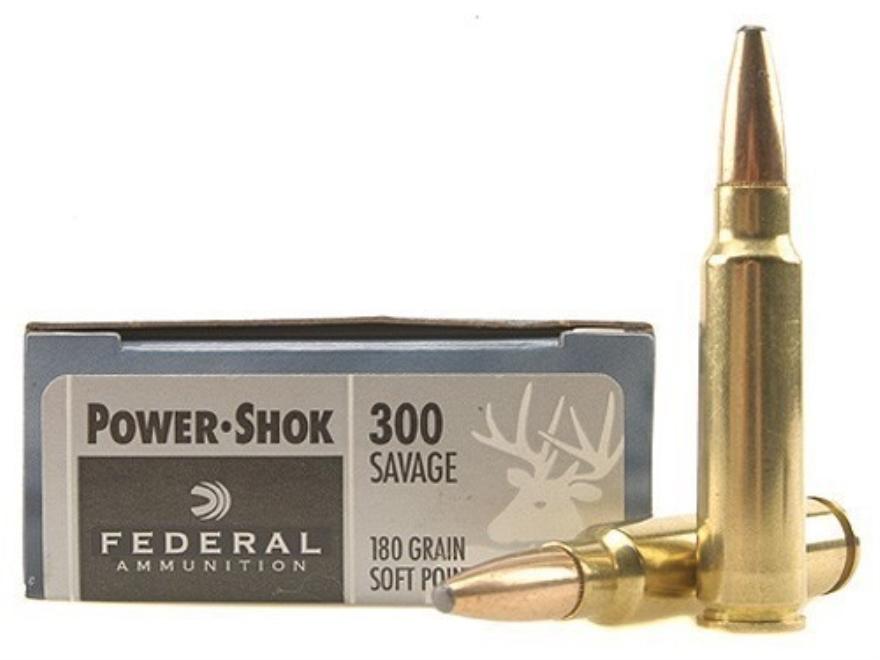 Federal Power-Shok Ammunition 300 Savage 180 Grain Soft Point Box of 20
