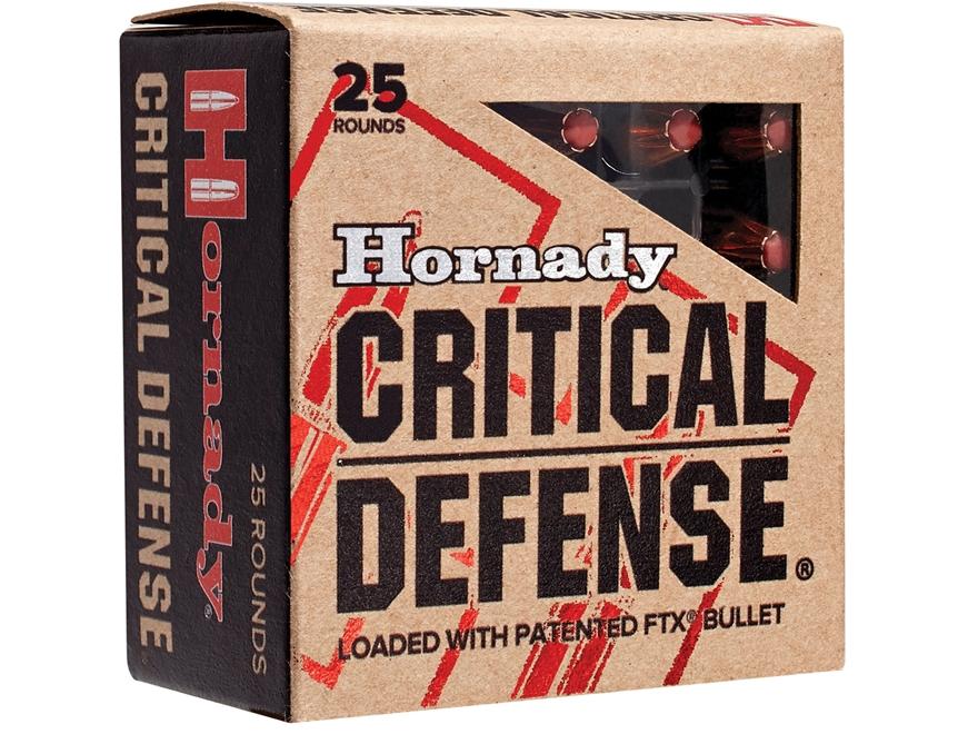Hornady Critical Defense Ammunition 9mm Luger 115 Grain Flex Tip eXpanding Box of 25