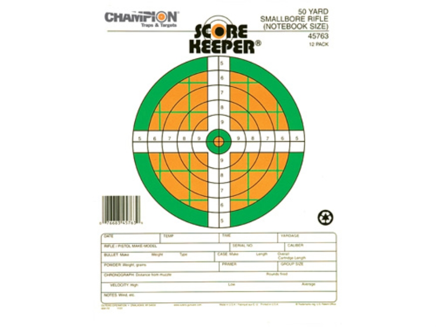 "Champion Score Keeper 50 Yard Small Bore Notebook Targets 8.5"" x 11"" Paper Fluorescent Orange/Green Bull Package of 12"