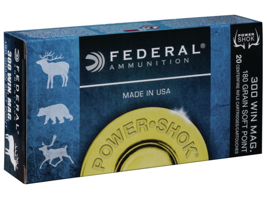 Federal Power-Shok Ammunition 300 Winchester Magnum 180 Grain Speer Hot-Cor Soft Point Box of 20