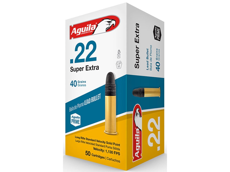 Aguila SuperExtra Ammunition 22 Long Rifle 40 Grain Lead Round Nose