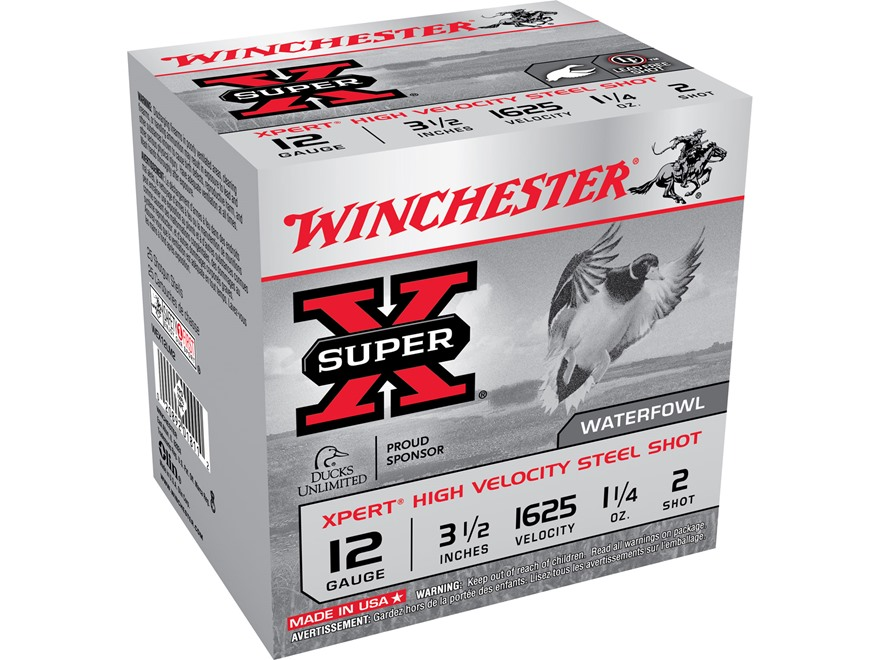 "Winchester Xpert High Velocity Ammunition 12 Gauge 3-1/2"" 1-1/4oz #2 Non-Toxic Plated Steel Shot"