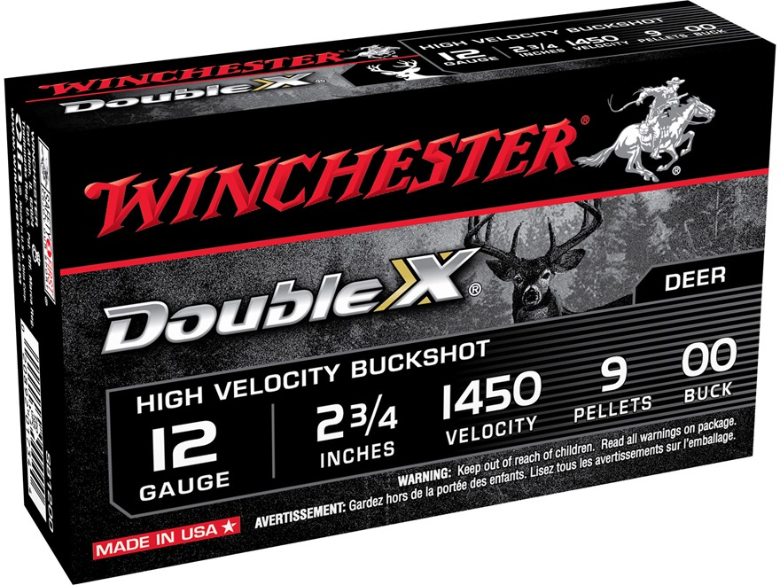"Winchester Double X Magnum Ammunition 12 Gauge 2-3/4"" Buffered 00 Copper Plated Buckshot 9 Pellets Box of 5"