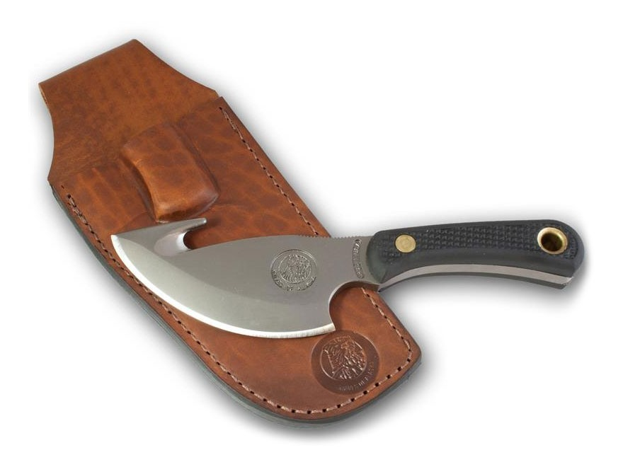 "Knives of Alaska Light Hunter Fixed Blade Knife 3.5"" Skinner with Gut Hook D2 Tool Steel Blade SureGrip Handle Black"