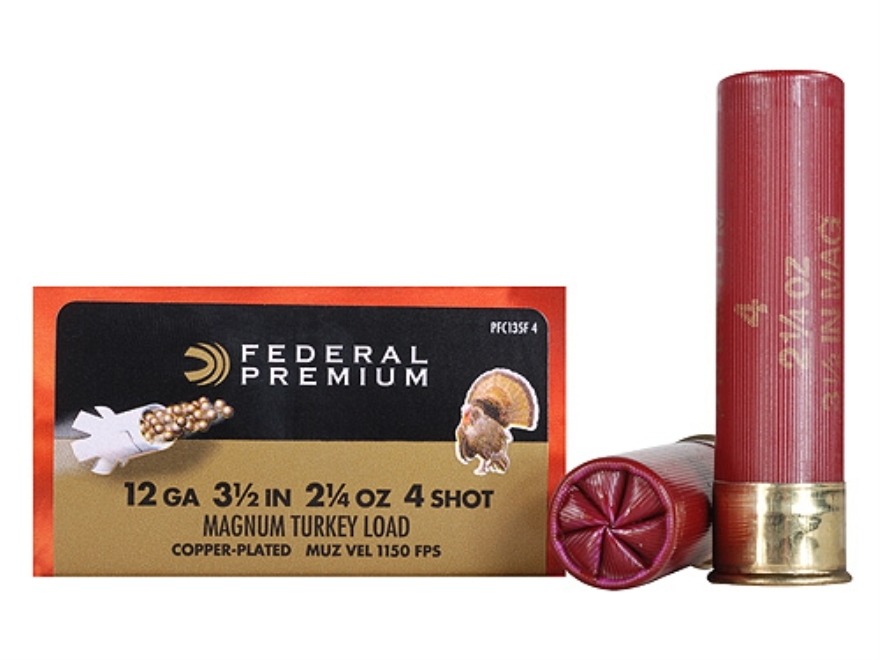 "Federal Premium Mag-Shok Turkey Ammunition 12 Gauge 3-1/2"" 2-1/4 oz #4 Copper Plated Sh..."