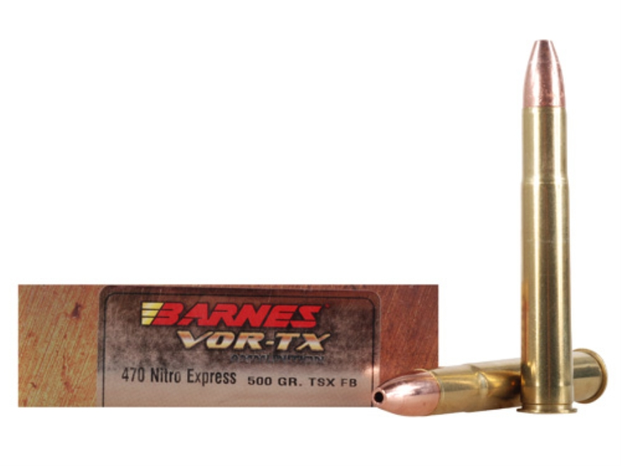 Barnes VOR-TX Safari Ammunition 470 Nitro Express 500 Grain Triple-Shock X Bullet Flat Base Box of 20