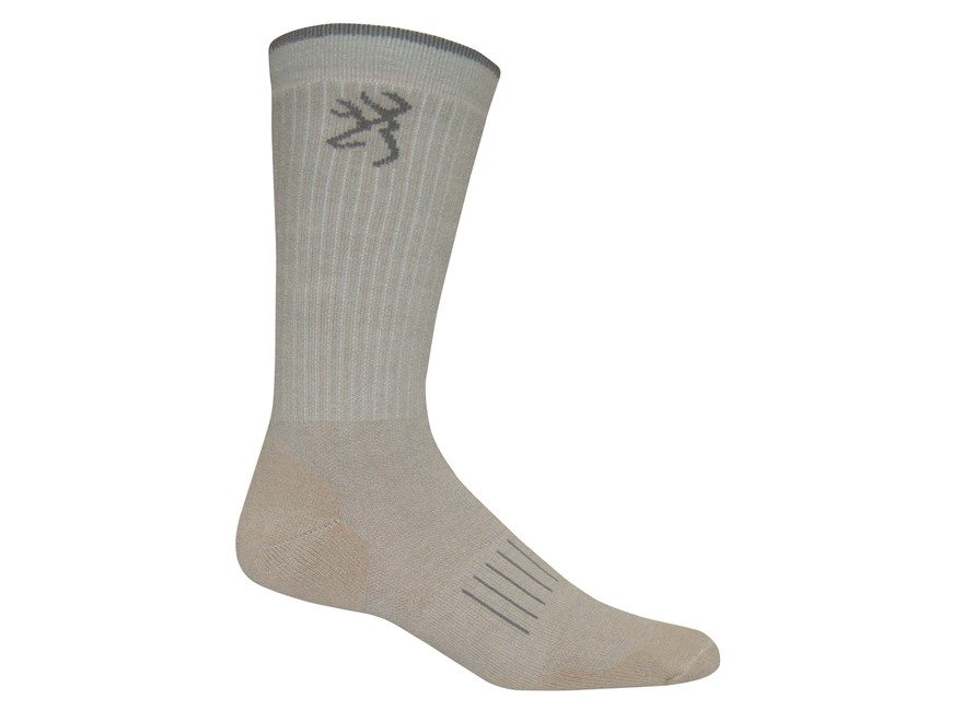 Browning Men's Ultra-Dri Lightweight Crew Socks Synthetic Blend Khaki Large 9-13