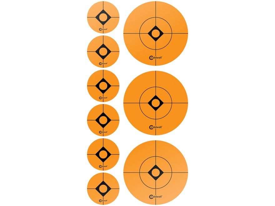 "Caldwell Target Spots Combo Pack 12 Sheets 36 2"" and 72 1"" Spots Orange"