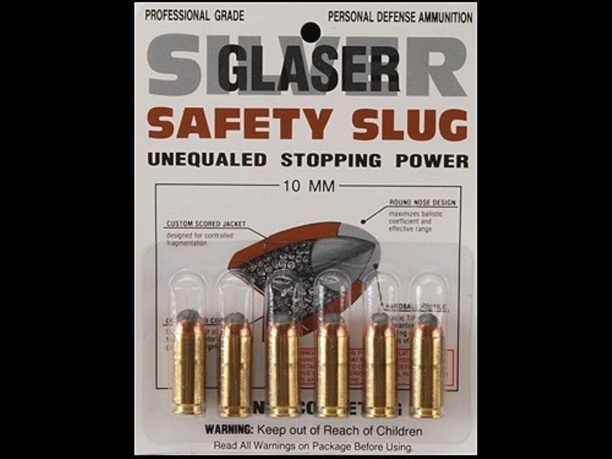 Glaser Silver Safety Slug Ammunition 10mm Auto 115 Grain Safety Slug Package of 6
