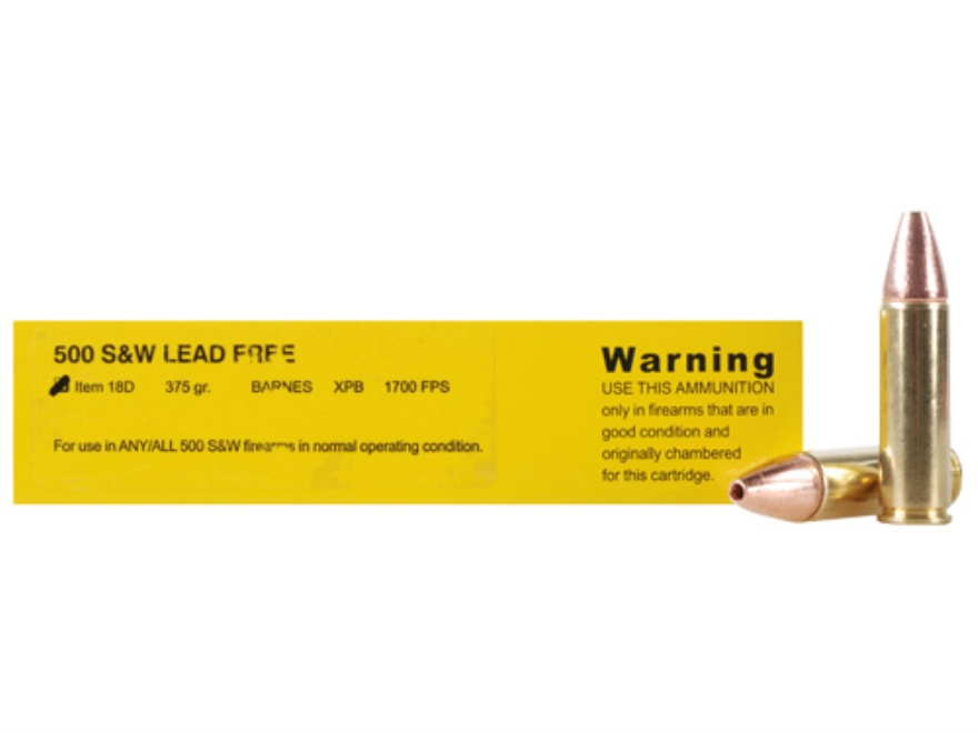 Buffalo Bore Ammunition 500 S&W Magnum 375 Grain Barnes XPB Solid Copper Hollow Point Lead-Free Box of 20