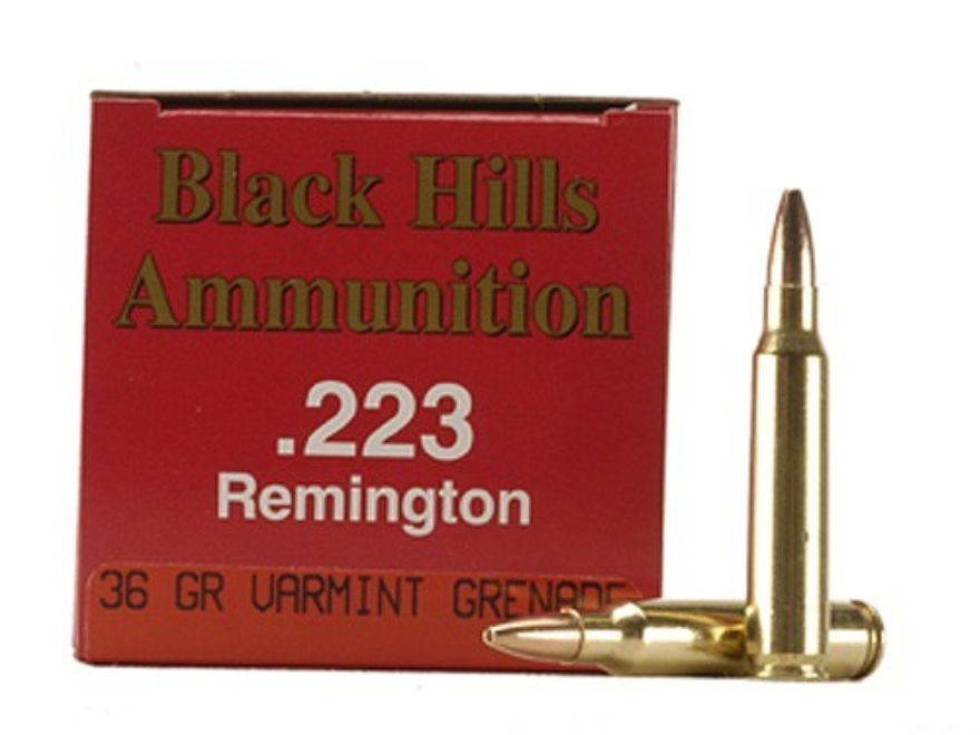 Black Hills Ammunition 223 Remington 36 Grain Barnes Varmint Grenade Hollow Point Flat Base Lead-Free Box of 50