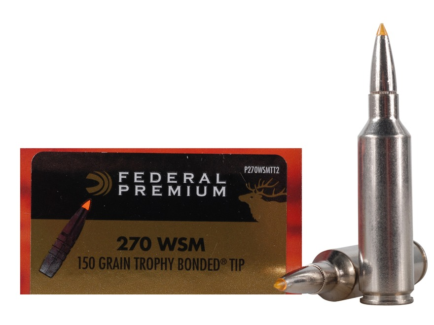 Federal Premium Vital-Shok Ammunition 270 Winchester Short Magnum (WSM) 150 Grain Trophy Bonded Tip Box of 20