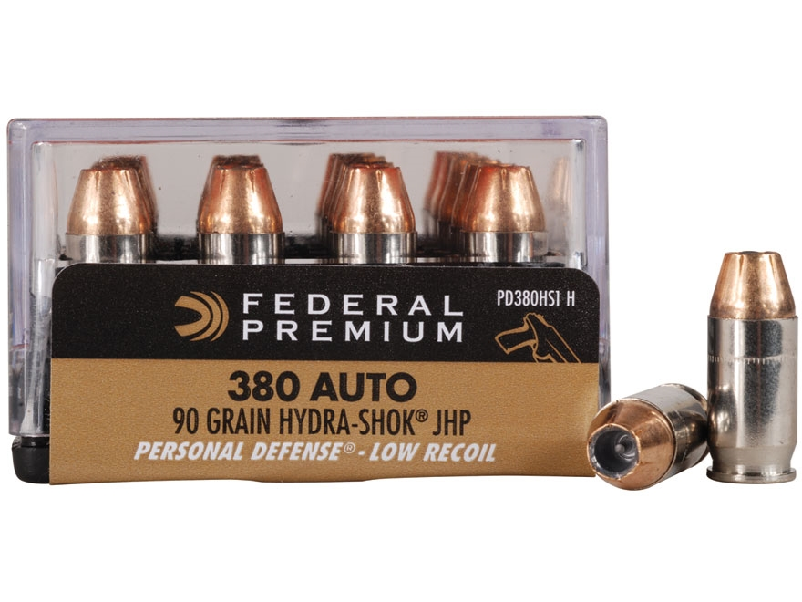 Federal Premium Personal Defense Reduced Recoil Ammunition 380 ACP 90 Grain Hydra-Shok Jacketed Hollow Point Box of 20