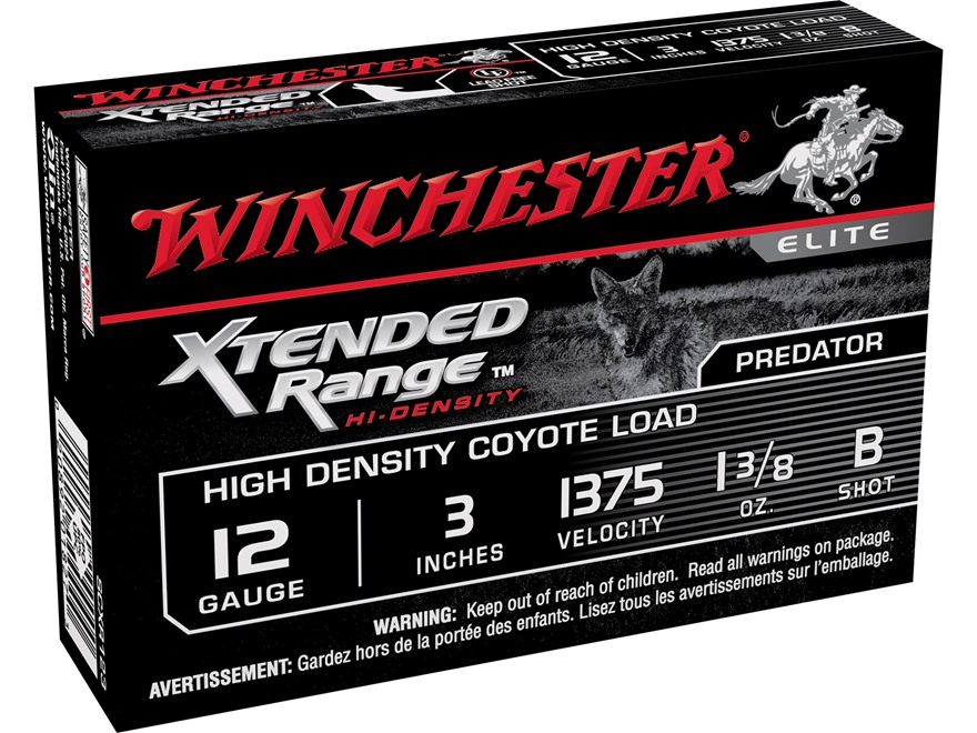 "Winchester Xtended Range Hi-Density Coyote Ammunition 12 Gauge 3"" 1-3/8 oz B Shot Lead-Free"