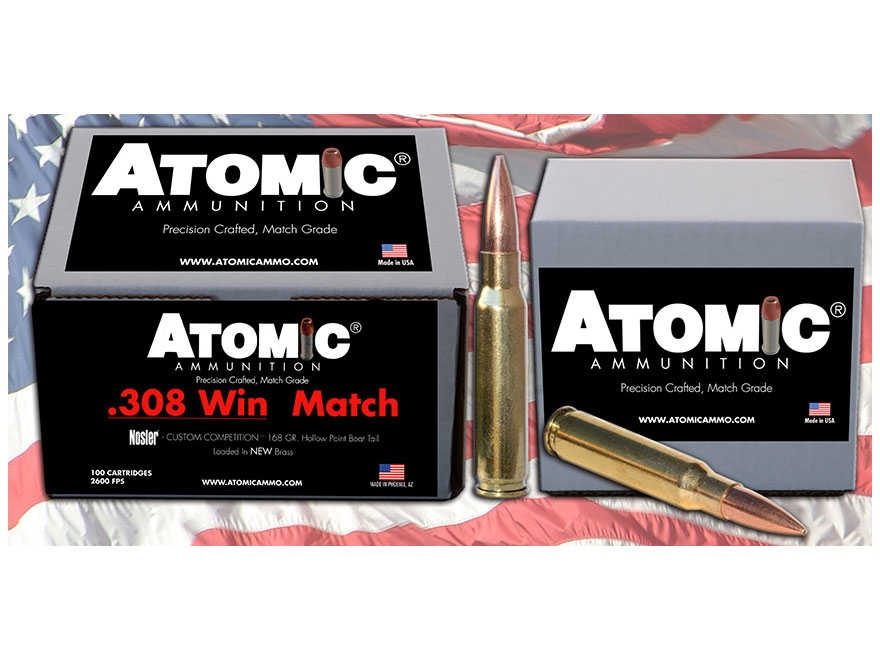 Atomic Match Ammunition 308 Winchester 168 Grain Nosler Custom Competition Hollow Point Boat Tail Box of 100