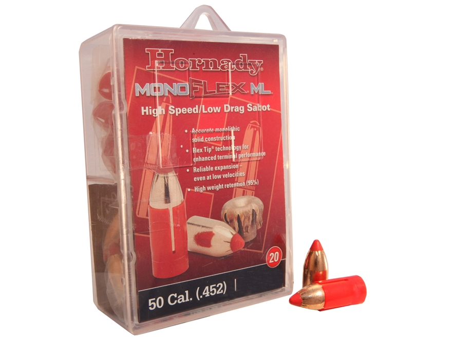 Hornady MonoFlex Muzzleloading Bullets 50 Caliber Sabot with 45 Caliber 250 Grain Low Drag Flex Tip Expanding Lead-Free Box of 20