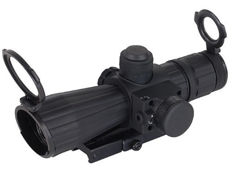 NcStar Mark 3 Tactical Rifle Scope 4x 32mm Blue Illuminated Reticle Matte with Red Laser and Quick Release Weaver-Style Base Rubber Armored Matte
