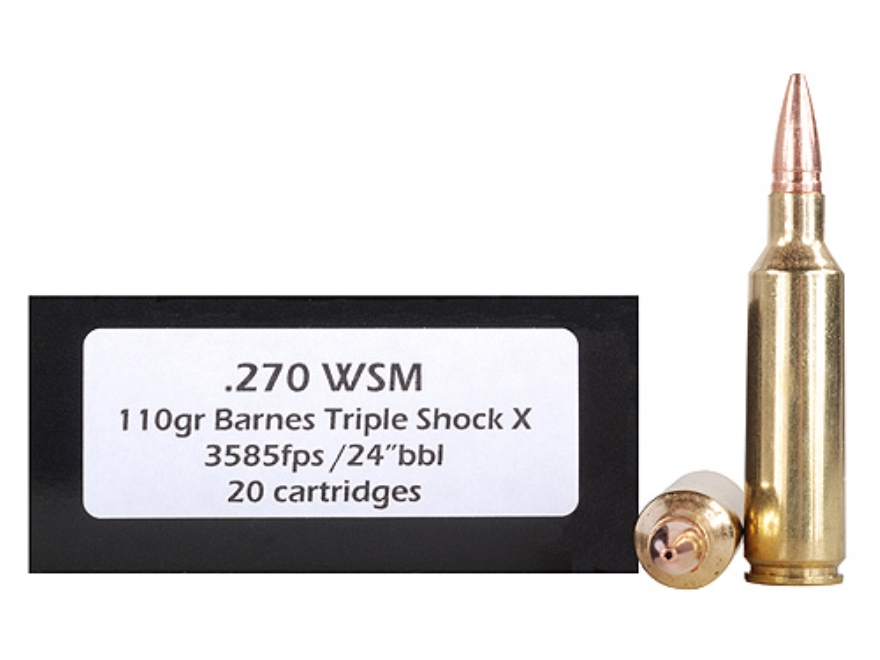 Doubletap Ammunition 270 Winchester Short Magnum (WSM) 110 Grain Barnes Triple-Shock X Bullet Hollow Point Lead-Free Box of 20