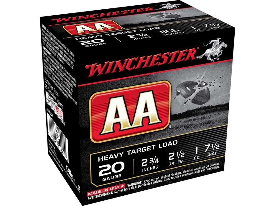 """Winchester AA Heavy Target Ammunition 20 Gauge 2-3/4"""" 1 oz #7-1/2 Shot"""