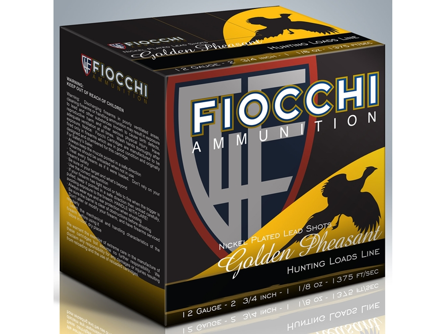"Fiocchi Golden Pheasant Ammunition 12 Gauge 2-3/4"" 1-3/8 oz #6 Nickel Plated Shot Box o..."