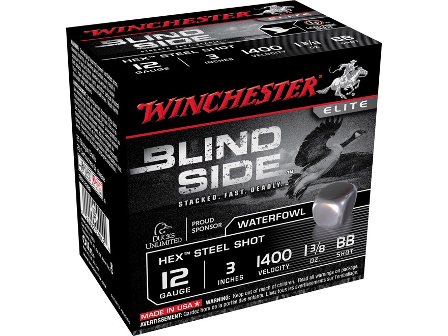 "Winchester Blind Side Ammunition 12 Gauge 3"" 1-3/8 oz BB Non-Toxic Steel Shot"