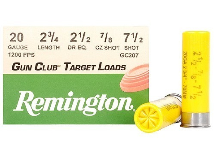 "Remington Gun Club Target Ammunition 20 Gauge 2-3/4"" 7/8 oz #7-1/2 Shot"