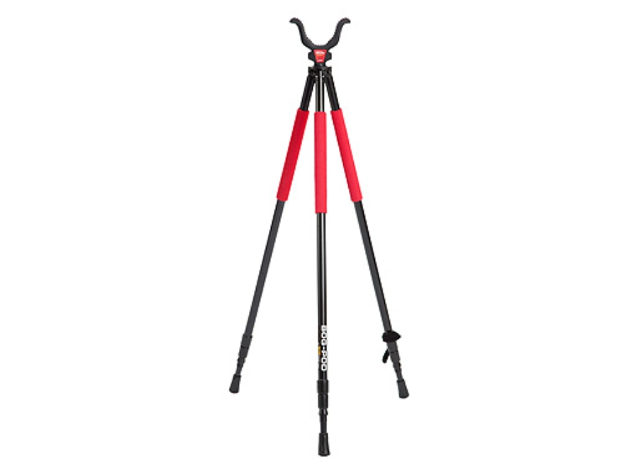 "Bog-Pod RLD-3 (Red Legged Devil) Tall Tripod Shooting Sticks 22"" to 68"" Swivel Head All-Terrain Feet Black and Red"