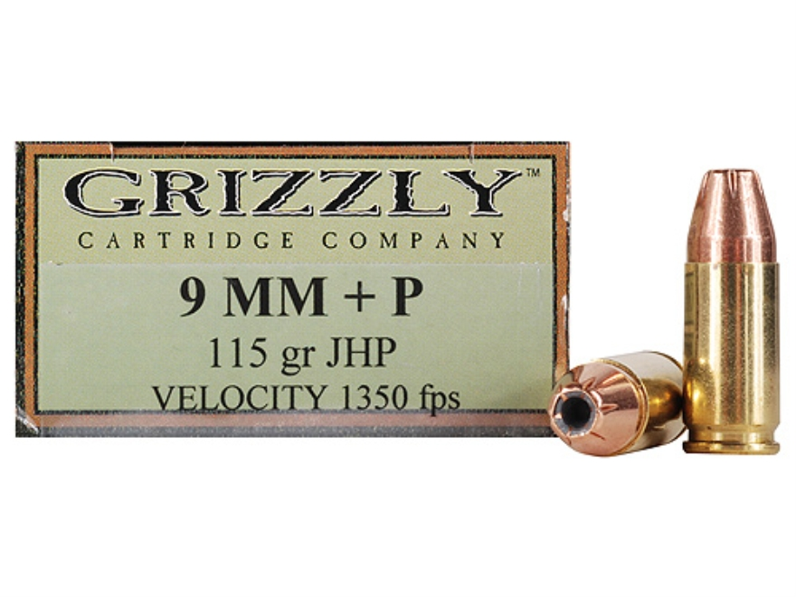 Grizzly Ammunition 9mm Luger +P 115 Grain Jacketed Hollow Point Box of 20