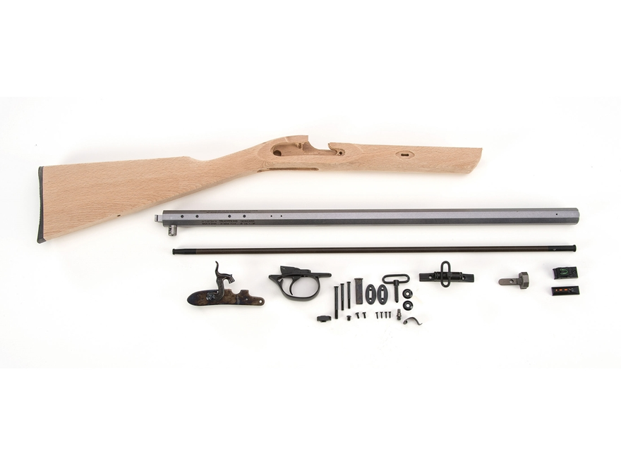 "Traditions Deerhunter Muzzleloading Rifle Unassembled Kit 50 Caliber Percussion 1 in 48"" Twist 24"" Barrel in the White"