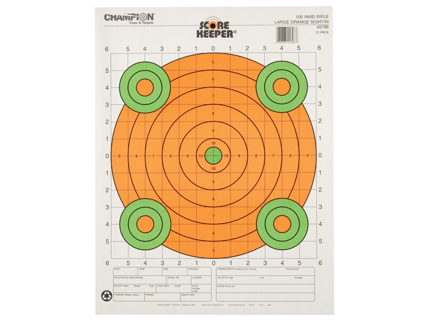 "Champion Score Keeper 100 Yard Sight-In Rifle Targets 14"" x 18"" Paper Fluorescent Orange Bull Package of 12"